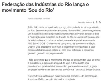Federação das Indústria do Rio lança o movimento 'Sou do Rio'